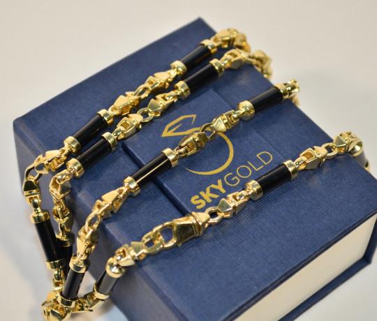 Золотая авторская мужская цепь со вставками из черного оникса
