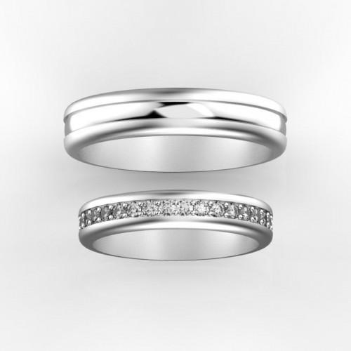 Золотые свадебные кольца с дорожкой бриллиантов 686991