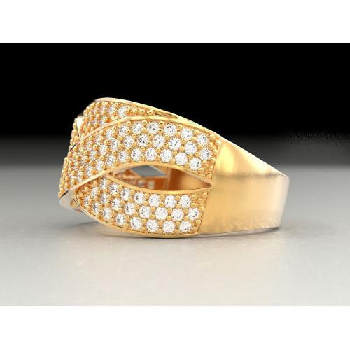 Женское золотое кольцо с россыпью бриллиантов 909806