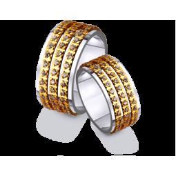 Золотые двухцветные широкие обручальные кольца 4421600