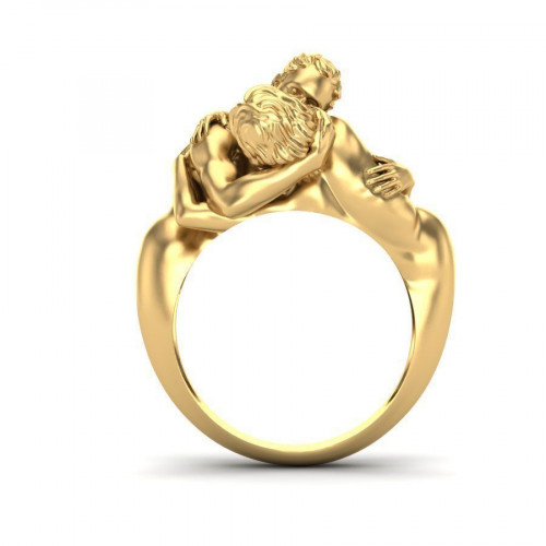 Авторское золотое кольцо Объятия 1859431