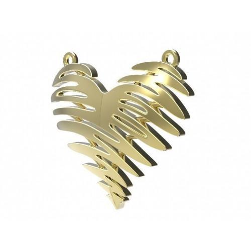 Золотой женский подвес в форме сердца