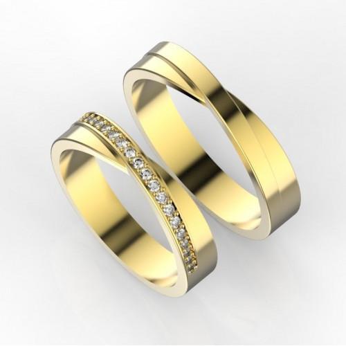Свадебные кольца из желтого золота с бриллиантами 769781