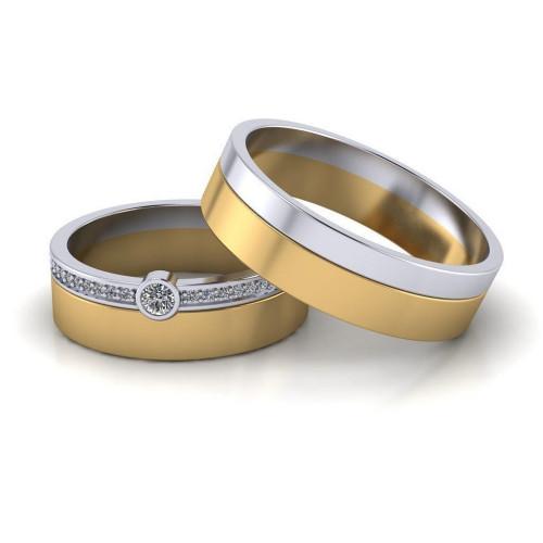Двухцветные обручальные кольца с бриллиантами 2114289