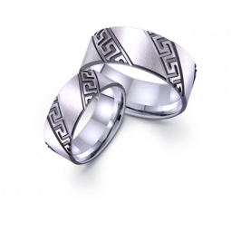 Широкие золотые обручальные кольца с орнаментом 421484