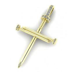 Золотой крест с бриллиантами в стиле Cartier 2296696