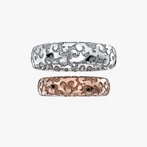 Полукруглые обручальные кольца с узором 2427583