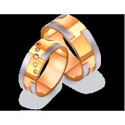 Широкие двухцветные обручальные кольца с фианитами 412574