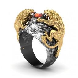 Эксклюзивный золотой перстень со львами 2758290