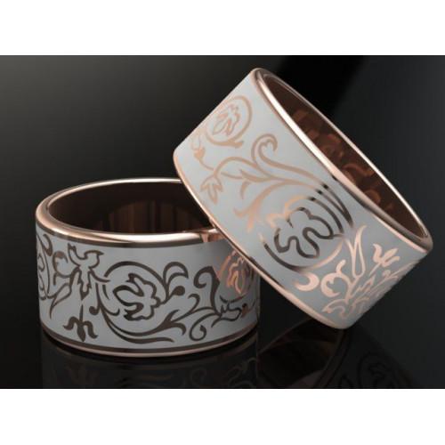 Золотые свадебные кольца с белой ювелирной эмалью