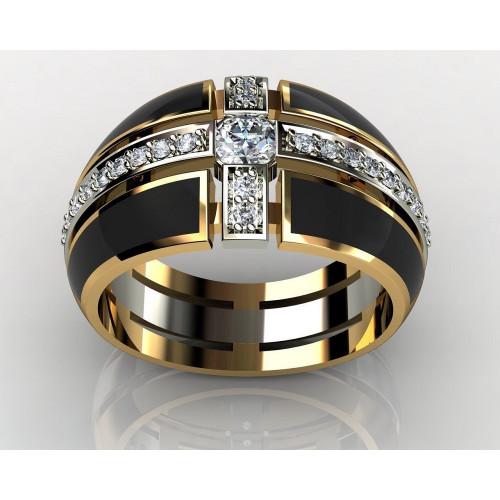 Мужской перстень с бриллиантами и эмалью 250328