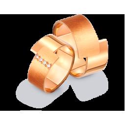 Золотые широкие обручальные кольца необычной формы 412918