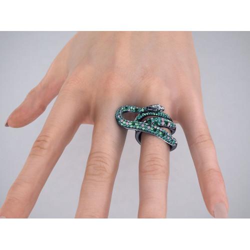 Эксклюзивное многокаменное кольцо в форме змеи 999206