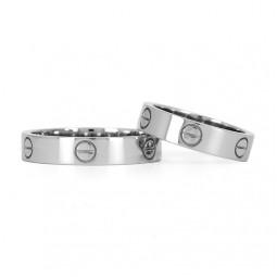 Свадебные кольца из белого золота реплика Cartier