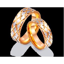 Золотые обручальные кольца с ромбовидным рисунком и родием 411273