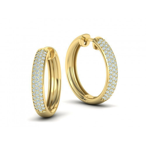 Золотые серьги кольца с бриллиантами 2301387