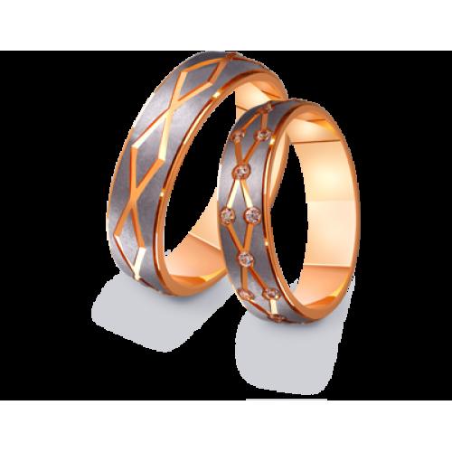 Золотые двухцветные обручальные кольца 411216