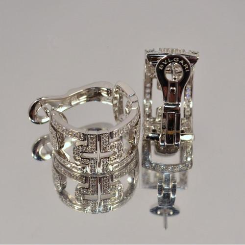 Золотые женские серьги в стиле Bvlgari Parentesi White 105