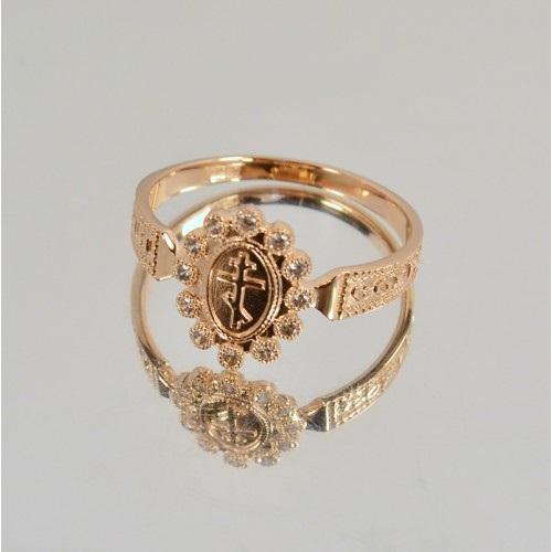 Охранное кольцо из красного золота с дорожкой камней 21073240