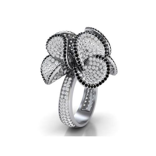 Эксклюзивное золотое кольцо с россыпью бриллиантов 743230