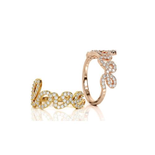 Золотое колечко Love с камнями
