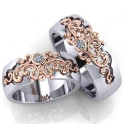 Свадебные кольца с ажурными вставками и бриллиантами 230204