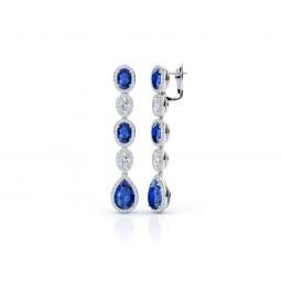 Эксклюзивные женские серьги с бриллиантами и шпинелью 2022741