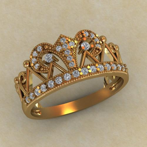 Женское золотое кольцо корона с круглыми камнями КЕ-863