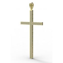 Дизайнерский золотой многокаменный крест