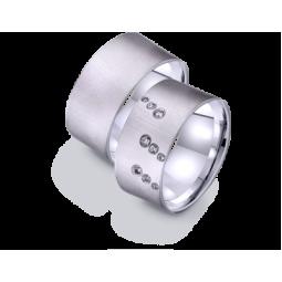 Широкие обручальные кольца американка из белого золота 421262