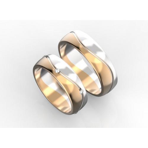 Двухцветные обручальные кольца с бриллиантами 250483