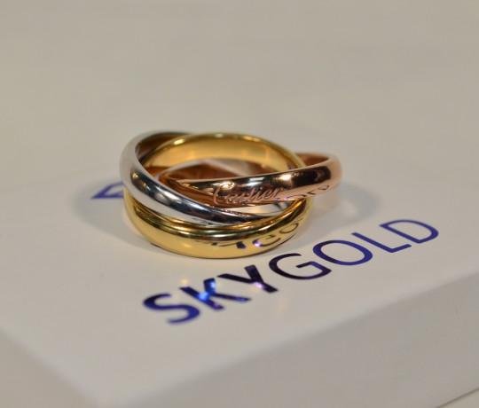 Золотое трехцветное кольцо в стиле Cartier Trinity