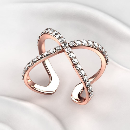 Золотое кольцо необычной формы с бриллиантами 2280303
