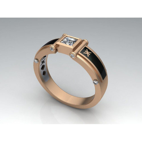Золотой мужской перстень с ювелирной эмалью и бриллиантом 864007