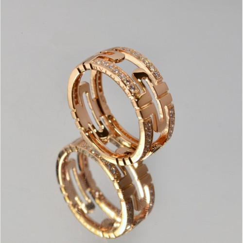 Женское золотое кольцо с камнями в стиле Bvlgari Parentesi Rose Ring 031