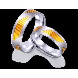 Золоті обручки з жовтими вставками 421256