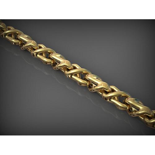 Золотая мужская цепь с необычными звеньями 2379423