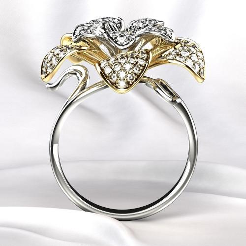 Женское золотое кольцо цветок с бриллиантами 2184716