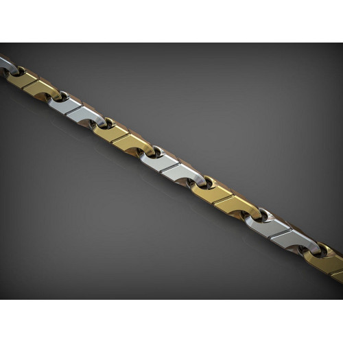 Золотая мужская цепь с необычными звеньями 618482