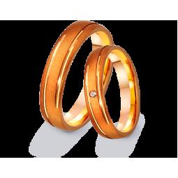 Золотые матуированные обручальные кольца с фианитом 411317