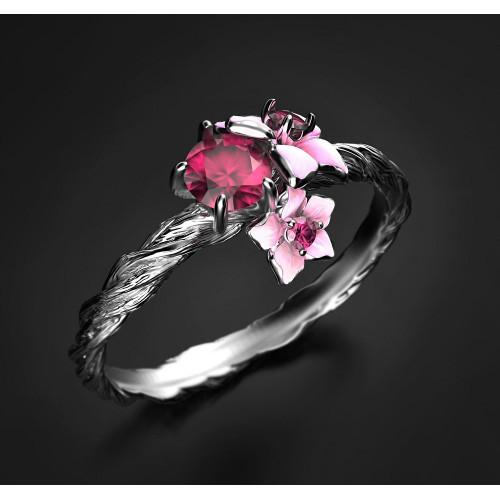 Золотое кольцо с эмалью и фианитами 2457404