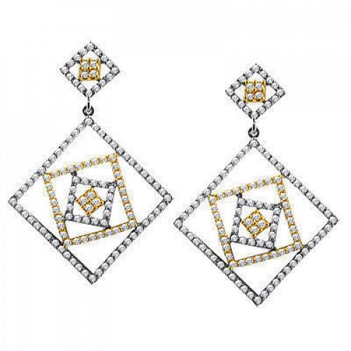 Золотые серьги необычной формы с бриллиантами 2212633