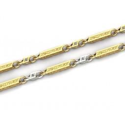 Золотая цепь из квадратных элементов с рисунком и камнями 875393