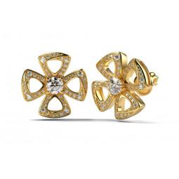Золотые серьги с бриллиантами в стиле Bulgari Fiorever 1996419