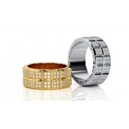 Массивные многокаменные свадебные кольца