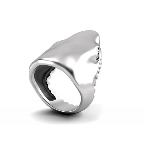 Авторское кольцо в форме акулы с бриллиантами 624254