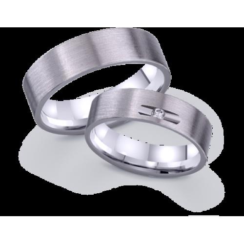 Белые золотые обручальные кольца американка с матовой поверхностью 421879
