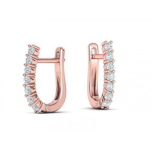 Золотые сережки с дорожками бриллиантов 2192232