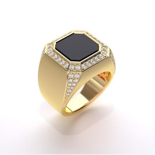 Мужской перстень с бриллиантами и ониксом 829176