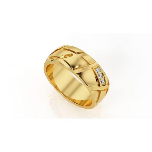 Золотые широкие свадебные кольца с маленькими камнями